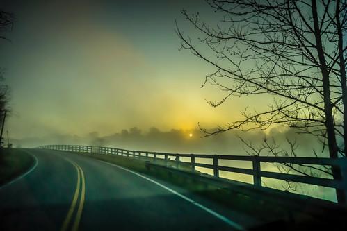 fog sunrise unitedstates kentucky country union roads