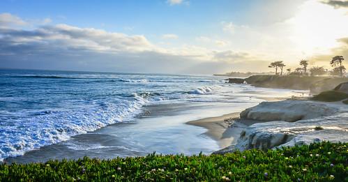 ocean california santa ca sunset cliff santacruz sun lighthouse beach sc water point bay us sand surf waves unitedstates pacific shoreline wave cliffs calif cal cruz shore