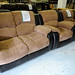 2+1+1 brown fabric and leather recliner suite