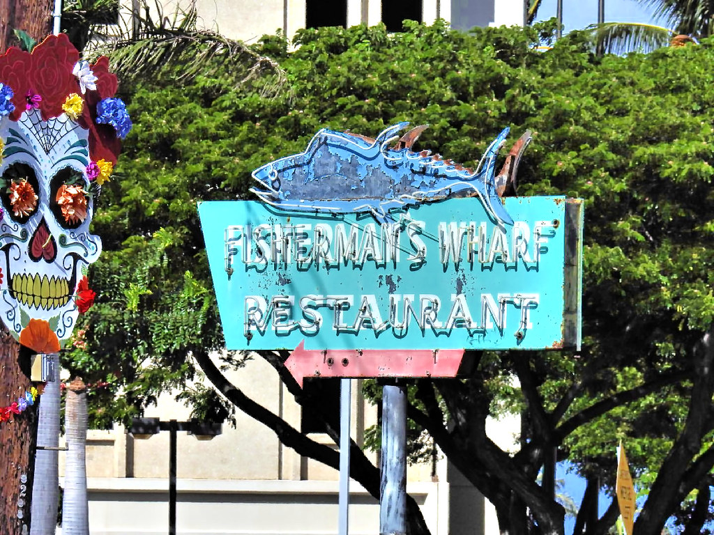 The Fisherman's Wharf Restaurant Sign - Scenes from Kewalo