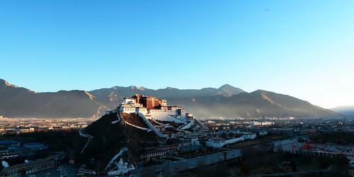 sunrise landscape religion tibet lhasa potalapalace