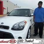 Southwest Kia of Dallas would like to say Congratulations to Myron Williams on the 2013 Kia Soul from Stanley Bowie