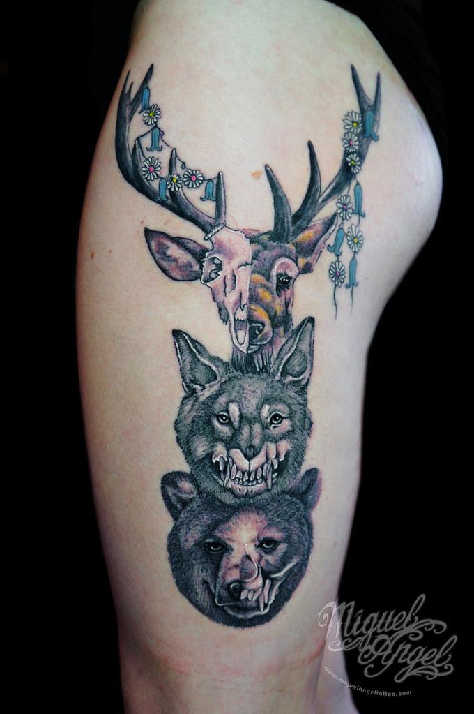 904c8a7a3 ... tattoo Deer, wolf and bear w/ skull custom tattoo | by Miguel Angel  tattoo