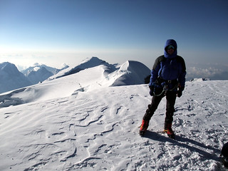 Me on the summit of Mera North (6476m), with Mera Central (6461m) behind | by markhorrell