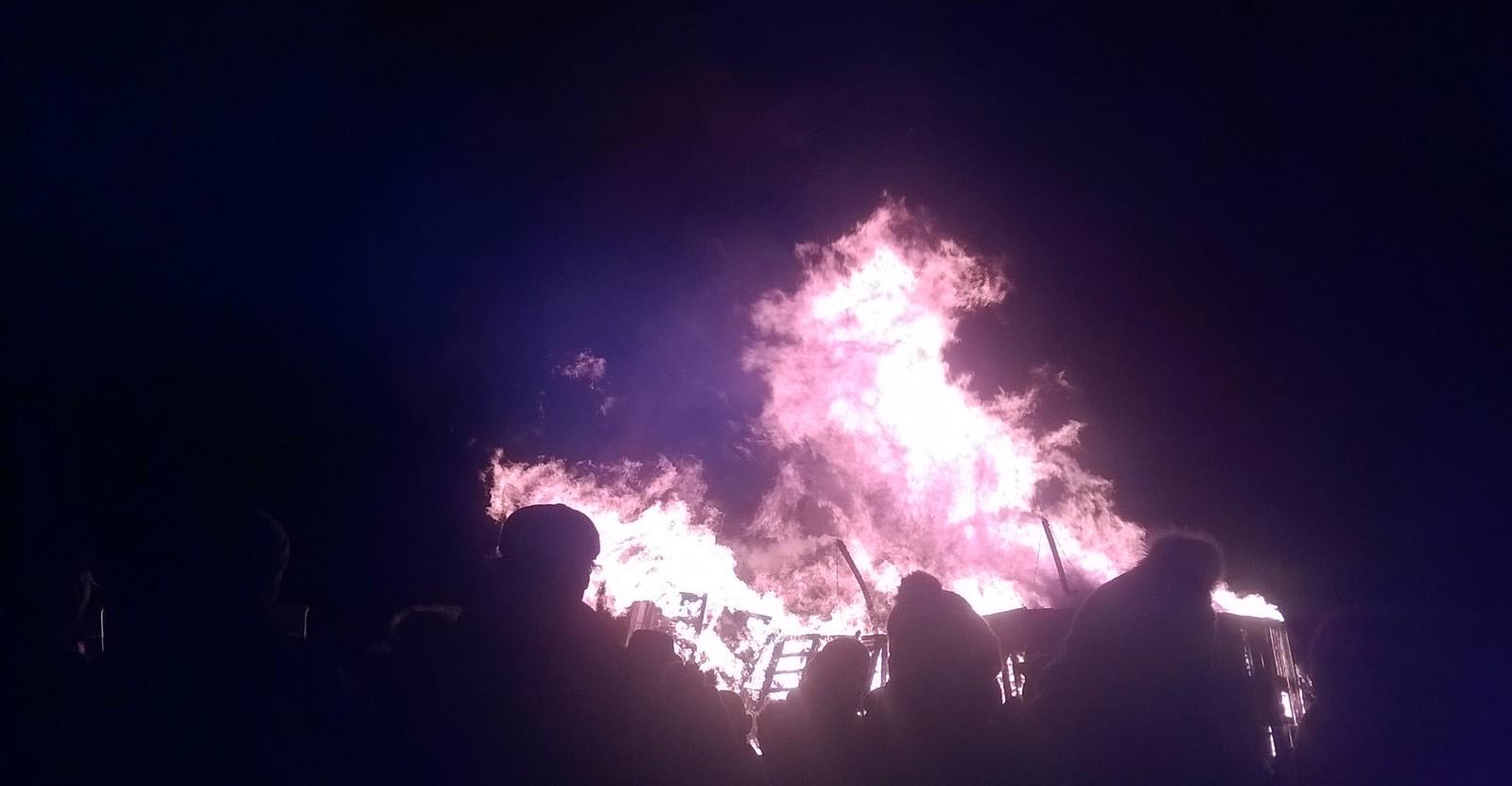 Wadhurst bonfire aflame
