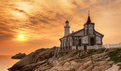 morning sea orange lighthouse church sunrise 5dmk3 brandonoh