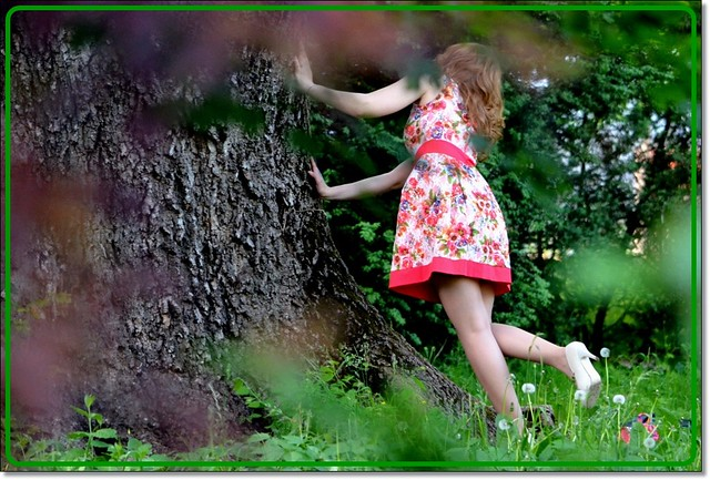 Young girl & old tree