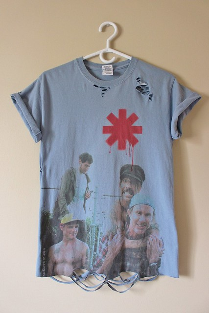 Distressed/ Shredded Red Hot Chili Peppers T Shirt