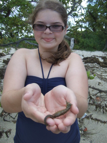 Sarah with a lined seahorse