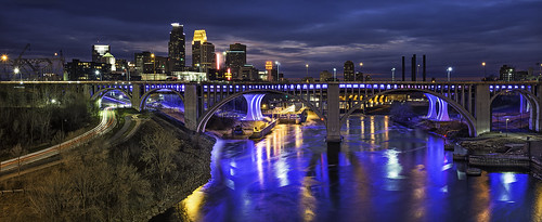 city longexposure bridge light panorama usa reflection art water colors minnesota skyline architecture buildings reflections river mississippi boat spring nikon downtown cityscape traffic dam trails minneapolis blues pedestrian led waterfalls mn usbankstadium