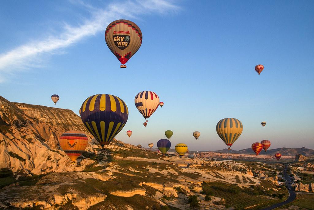 Hot air balloon flight over Cappadocia