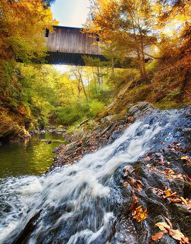 newhampshire coveredbridge waterfall fall hdr