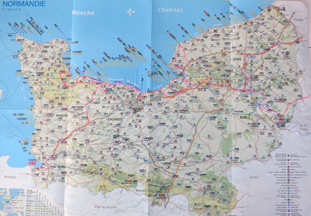 Kort Over Ruterne I Normandiet Ca 4 000 Km Pa 11 Dage Fra Flickr