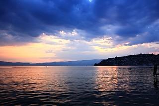 Lake Ohrid during sunset