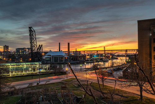 cleveland cuyahogariver hdr nikon nikond5300 ohio bridge city cityscape clouds downtown geotagged lightstream lighttrails longexposure reflection reflections river sky sunset urban unitedstates brilliant
