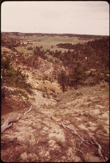 Roy Fly ranch near Sarpy Basin. Close to the surface of the 25,000 square mile area, known as the powder basin..., 06/1973