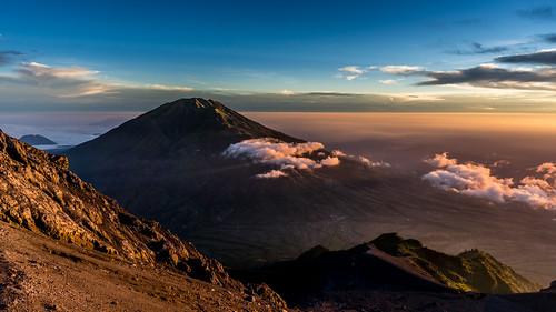 sky mountains clouds sunrise indonesia dawn volcano java crater summit merapi centraljava merbabu