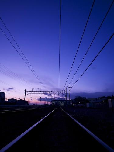 sunset beautiful station japan line 日本 夕暮れ 駅 夕焼け 線路