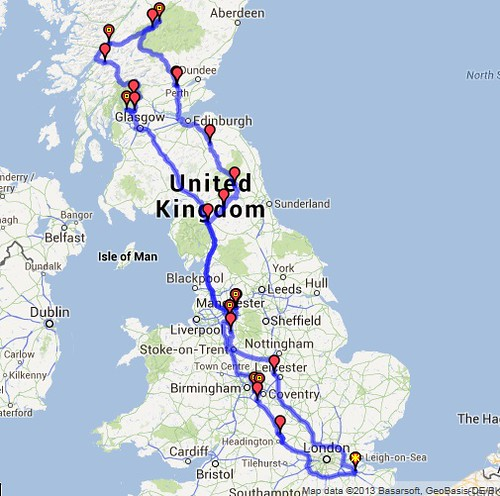 Ashes Tour Route