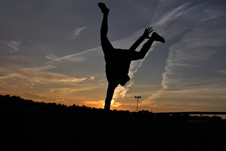 One handed Handstand in the Sunset at Chester Racecourse | by Oliver Kreis