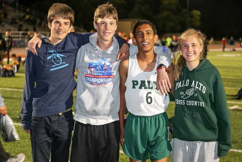 Paly distance runners (Sam, Kent, Naveen and Bryn)