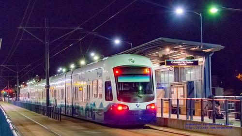3-Car Night Sound Transit Train at Columbia City Station