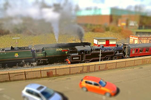 Model Steamies, Bulleid Pacific & Class 4MT Tank, 34092 & 80080 pass at Bury Bolton Street, East Lancs Railway. 26 03 2016. Tilt Shift Effect