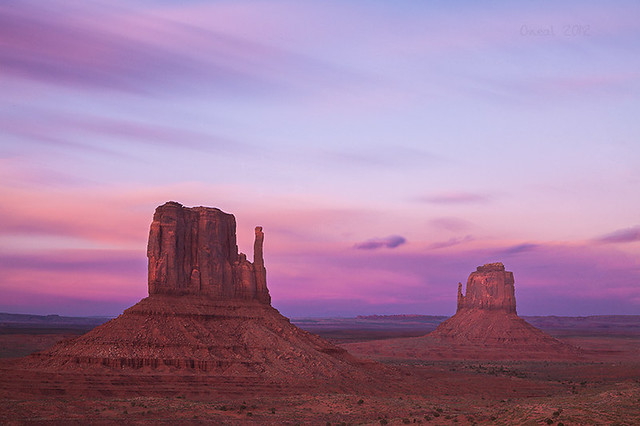 Monument Valley Mittens at Sunset