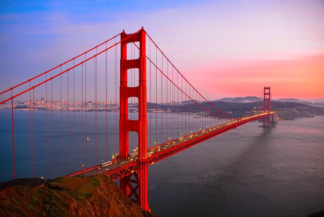 Golden Gate Bridge at Sunset - San Francisco California