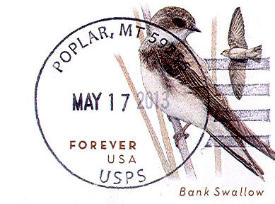 Poplar, Montana 59255   A Poplar postmark dated 5/17/2013