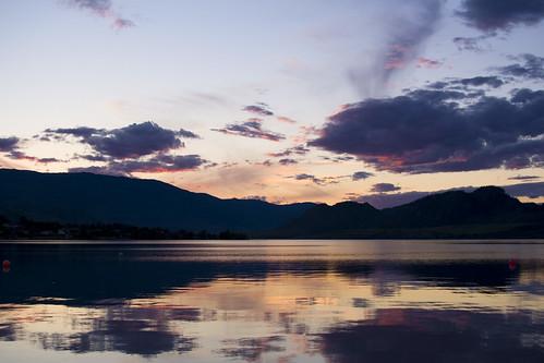 sunset lake mountains landscape day osoyoos osoyooslake pwpartlycloudy