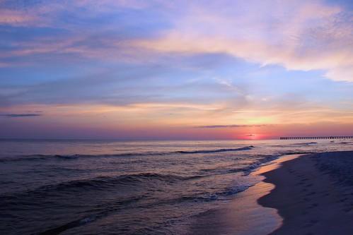 ocean light sunset sunlight beach water clouds sunrise canon evening coast sand surf gulf florida shore canon60d elizabethbudd panamactiybeach