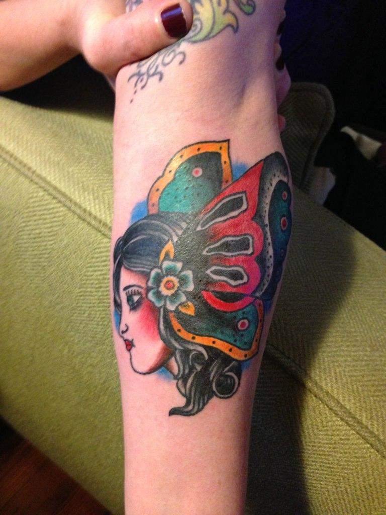 988a0c71d ... Gypsy Girl Moth Head Tattoo by KeelHauled Mike of Black Anchor Tattoo  in Denton Maryland