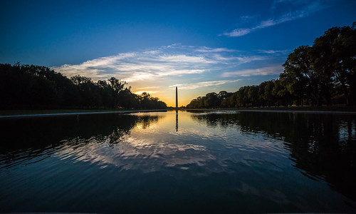 usa canon sunrise water reflection symmetry monument obelisk clouds fair summer morning shadow light trees sky blue yellow capitol