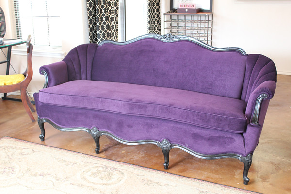 Enjoyable Reupholstered Purple Couch After Side View Compartment Gmtry Best Dining Table And Chair Ideas Images Gmtryco
