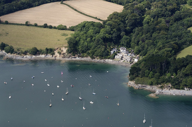 Durgan on the Helford River in Cornwall - aerial image