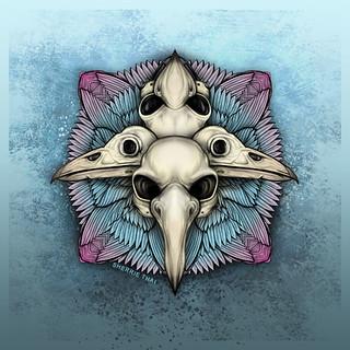 Bird Skull Mandala, Dark Art by Sherrie Thai of Shaireproductions.com