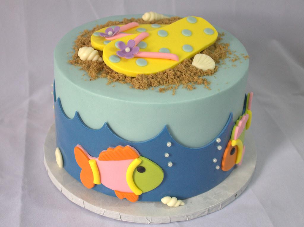Sensational Beach Themed Birthday Cake Sara Mayes Flickr Funny Birthday Cards Online Fluifree Goldxyz