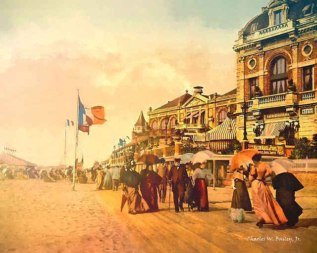 Digital Oil Painting of the Trouville-sur-Mer Promenade by Charles W. Bailey, Jr.