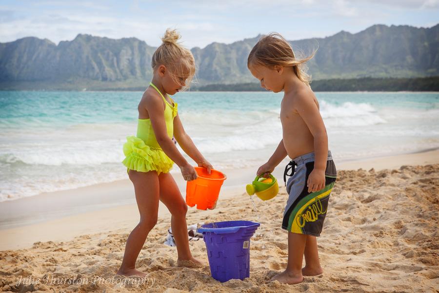 Children Playing at the Beach, Bellows Beach, Hawaii 2