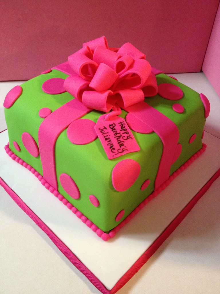 Wondrous Pink And Green Giftbox Birthday Cake All Fondant Cake With Flickr Funny Birthday Cards Online Alyptdamsfinfo
