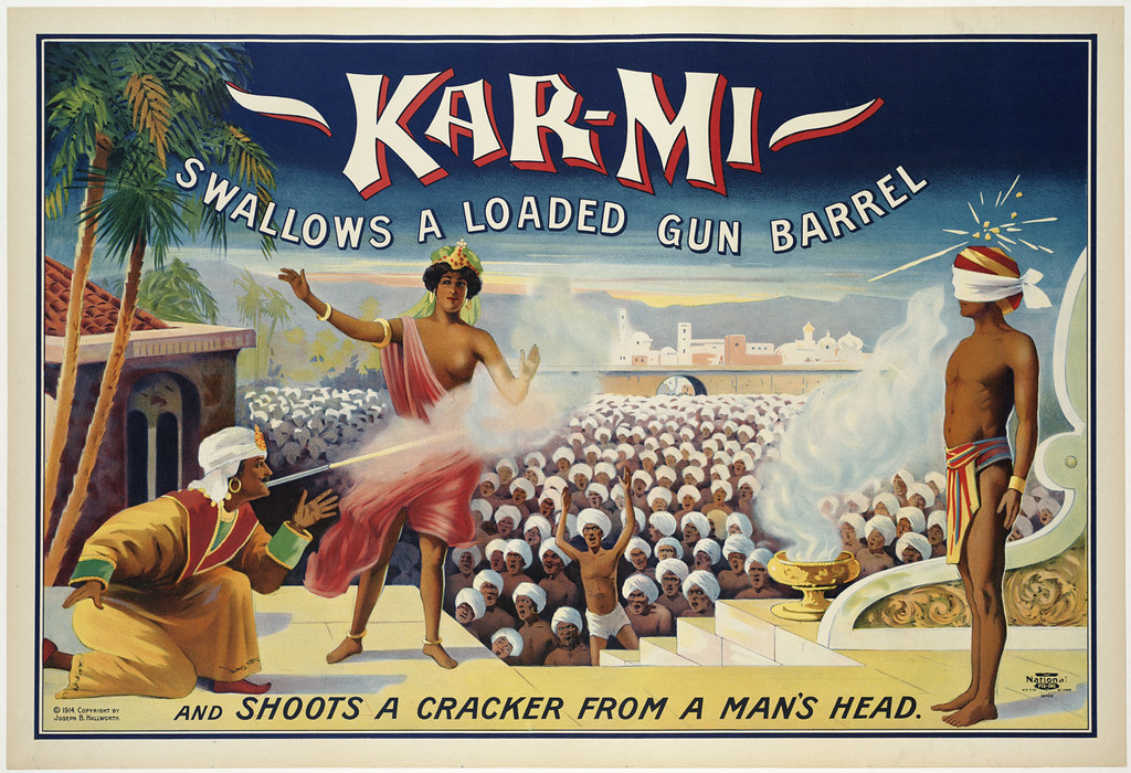 Kar-mi swallows a loaded gun barrel  : and shoots a cracker from a man's head.