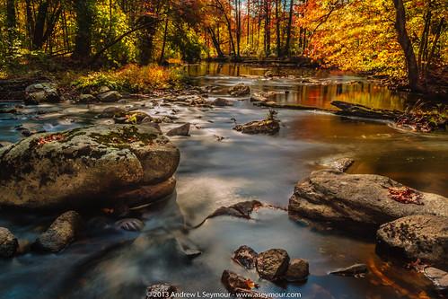 longexposure fallleaves fall water colors unitedstates pennsylvania pa restarea chestercounty creekroad glenmoore