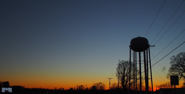 Sunset and a water tower