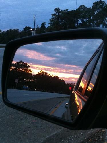 sun cars clouds sunrise sidemirror