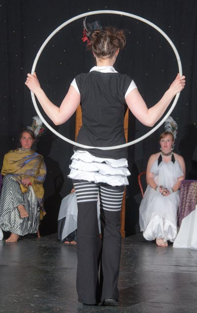 Ready to dance with a lighted hoop