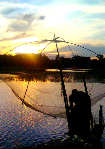 sunset man net water fishing collection