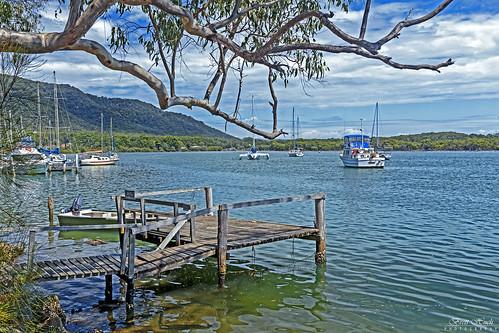 river australia nsw nature boats tree trees jetty hills water sky boat