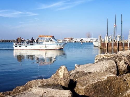 outdoor waterfront boat water vehicle landscape seasisde shore sea lake lakeerie ohio cleveland olympus fishing fishermen fall harbor dock