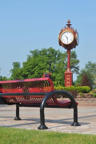 utica memorialpark placemaking walkability uticamichigan michiganmunicipalleague bikability decorativeclocktower